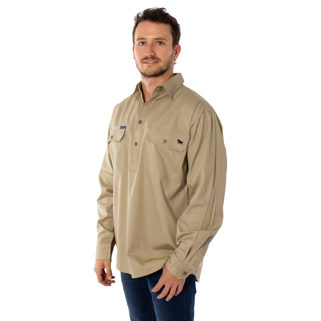 Ringers Western | Mens | Work Shirt | HALF Button | Long Sleeve | King River | Camel