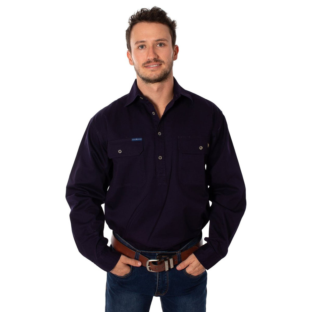 Ringers Western | Mens | Work Shirt | HALF Button | Long Sleeve | King River |  Dark Navy
