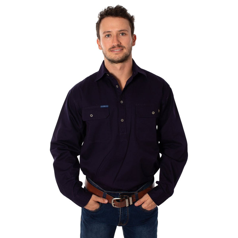 Mens | Work Shirt | King River | HALF Button | Long Sleeve | Dark Navy
