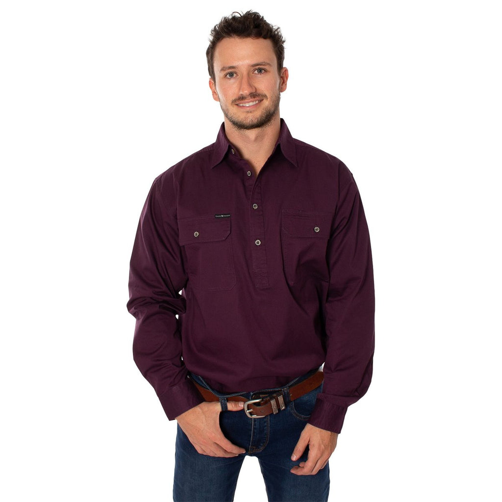 Ringers Western | Mens | Work Shirt | HALF Button | Long Sleeve | King River | Aubergine