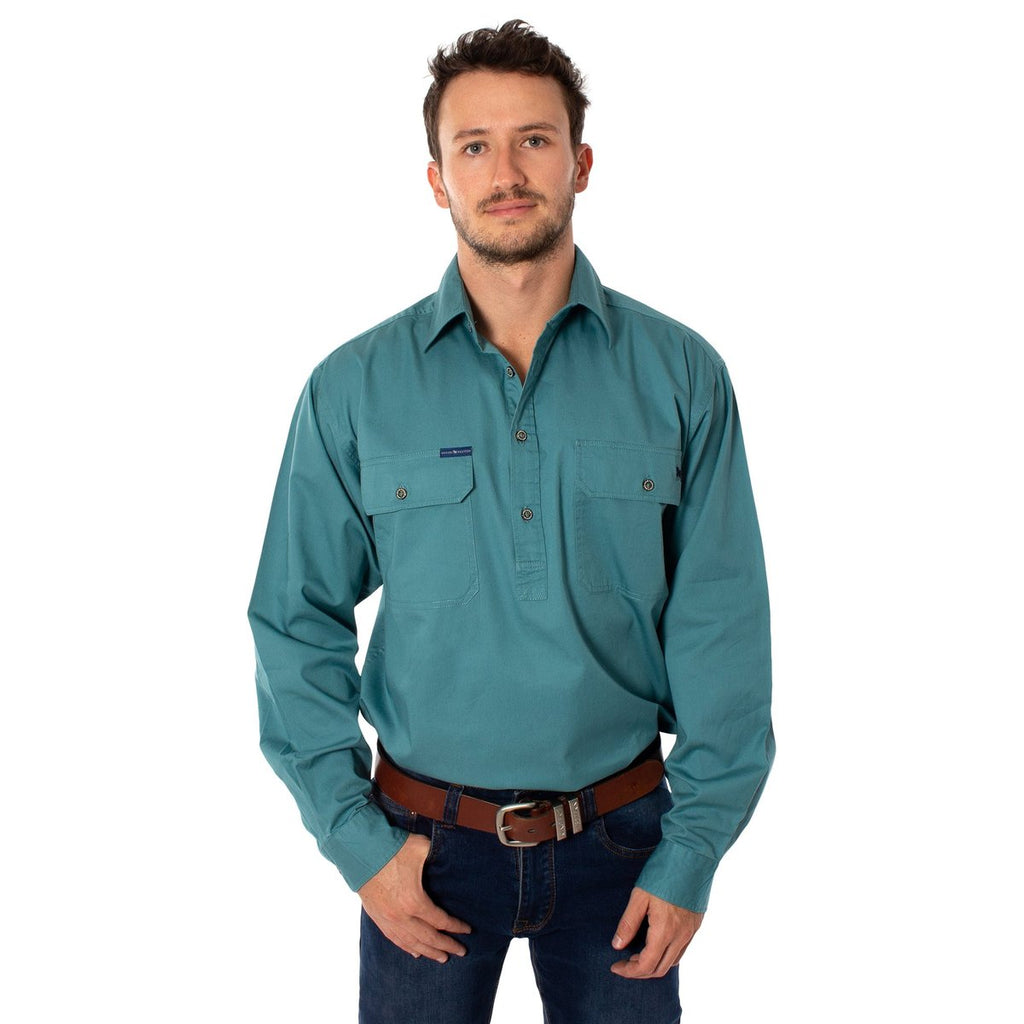Ringers Western | Mens | Work Shirt | HALF Button | Long Sleeve | King River | Dusty Jade