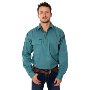 Mens | Work Shirt | King River | HALF Button | Long Sleeve | Dusty Jade