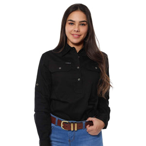 Womens | Work Shirts | HALF Button | Long Sleeve | Boss Lady | Black