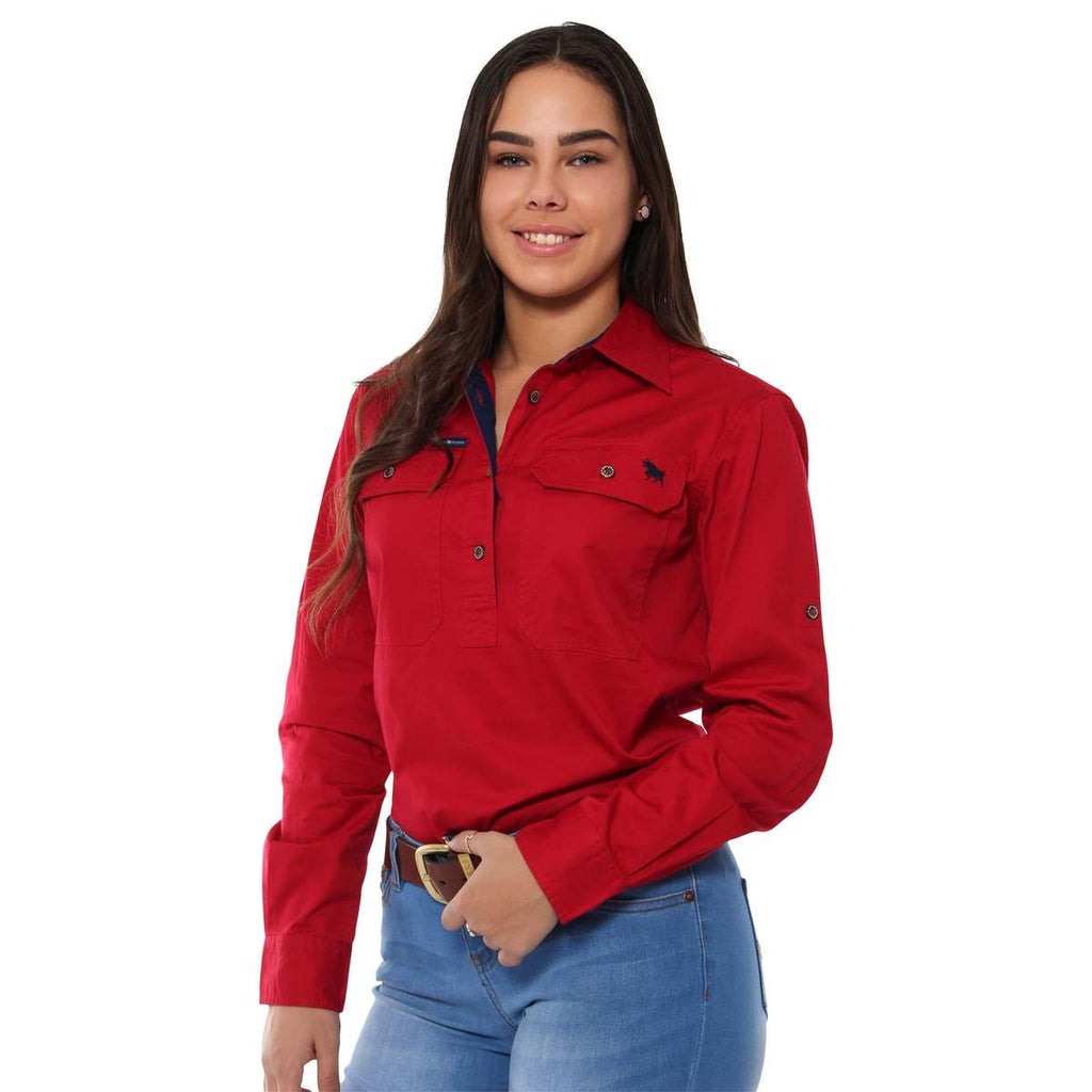 Ringers Western | Womens | Work Shirt | HALF Button | Long Sleeve | Boss Lady | Deep Red