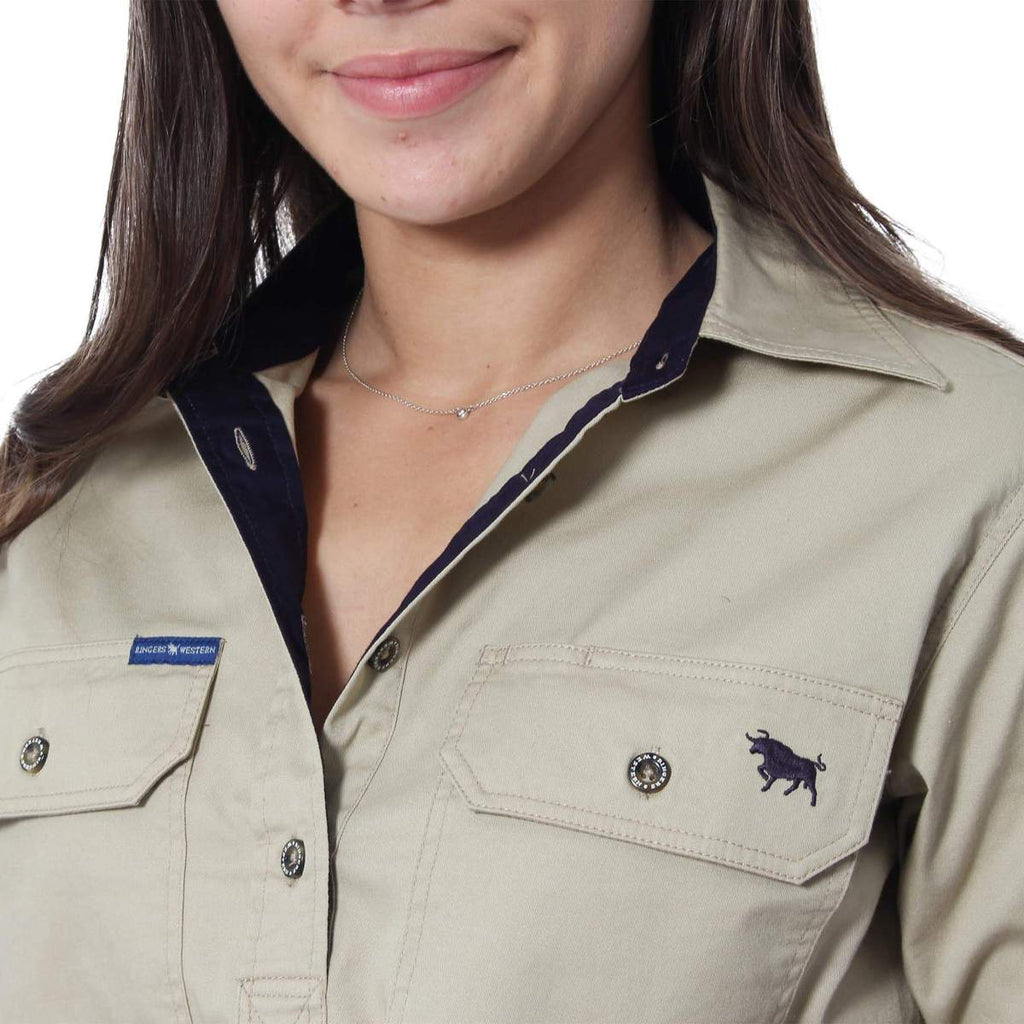 Ringers Western | Womens | Work Shirt | HALF Button | Long Sleeve | Camel
