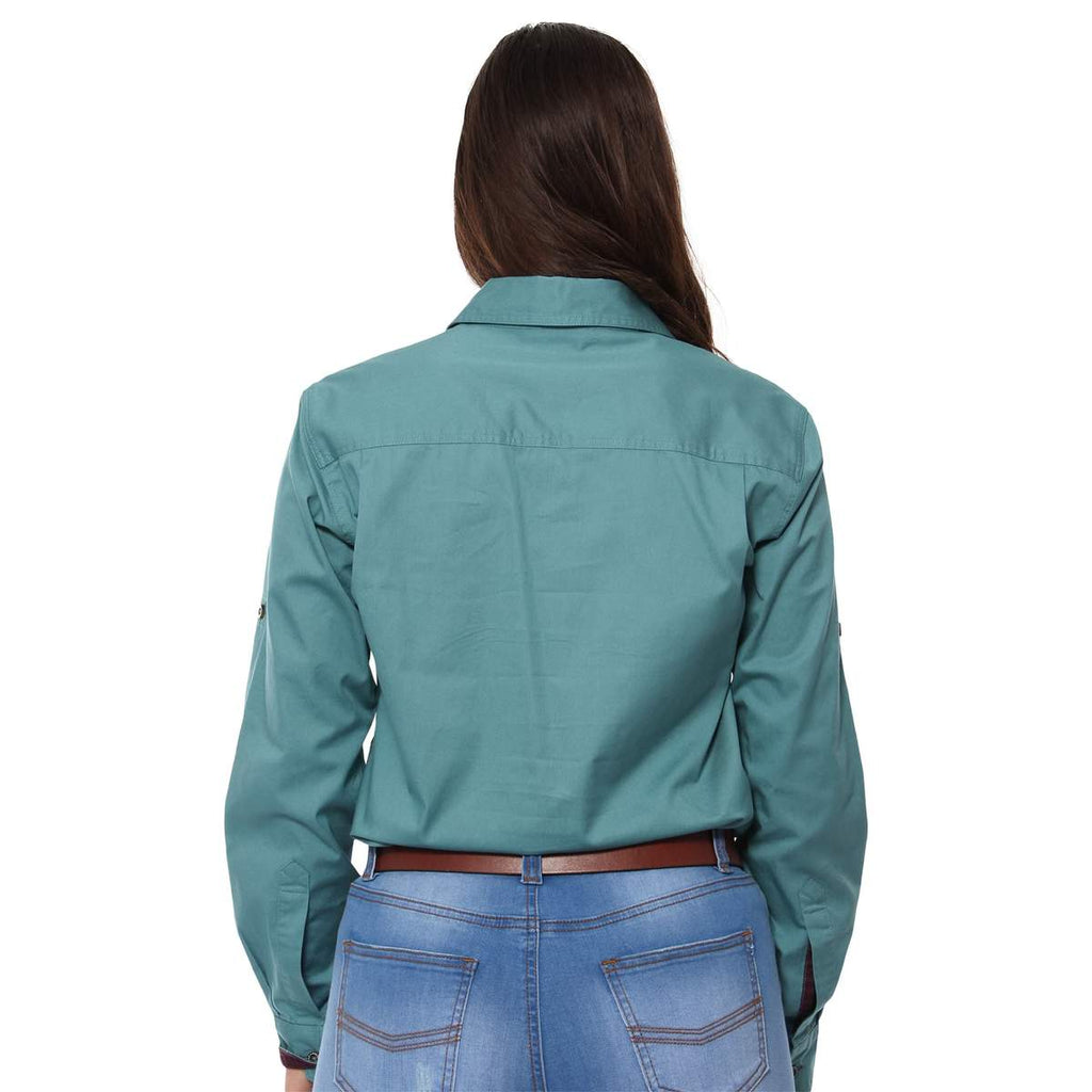 Ringers Western | Womens | Work Shirt | HALF Button | Long Sleeve | Dusty Jade