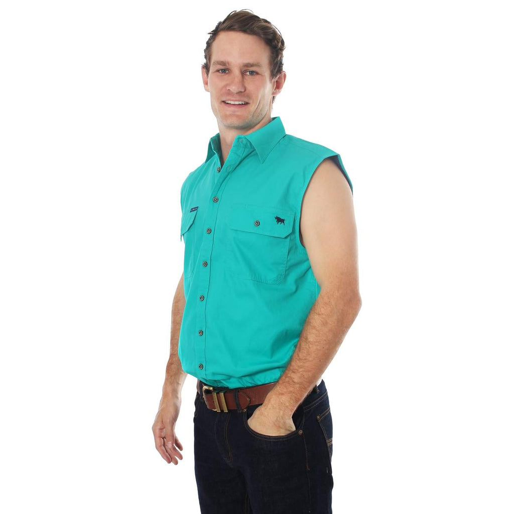 Ringers Western | Mens | Work Shirt | FULL Button | SLEEVELESS |  Rob Roy | Deep Mint