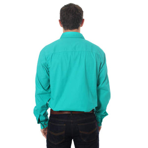 Ringers Western | Mens | Work Shirts | HALF Button | Long Sleeve | King River | Deep Mint - BK8 Outfitters Australia