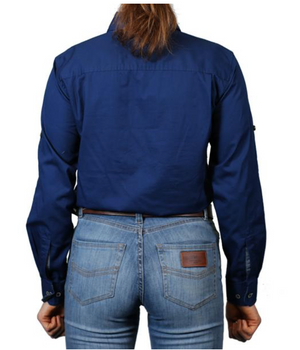 Ringers Western | Womens | Work Shirts | HALF Button | Long Sleeve | Pentecost | Navy - BK8 Outfitters Australia