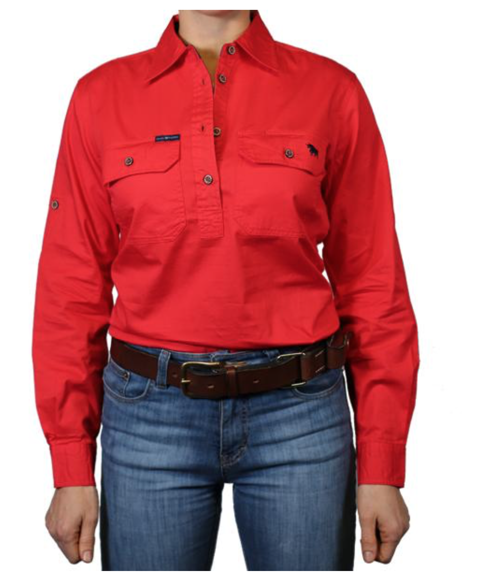 Ringers Western | Womens | Work Shirts | HALF Button | Long Sleeve | Pentecost | Red - BK8 Outfitters Australia