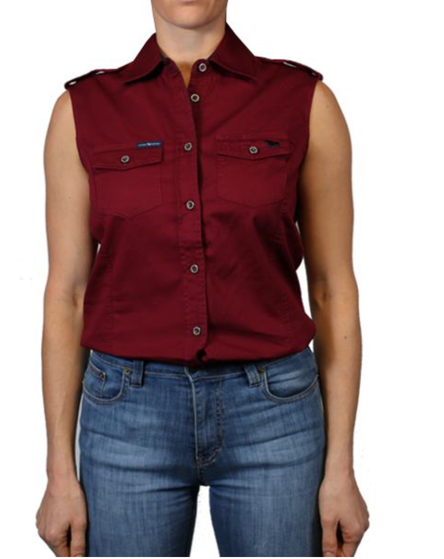 The Pentecost Sleeveless Work Shirt Burgundy - Rogue Country Outfitters