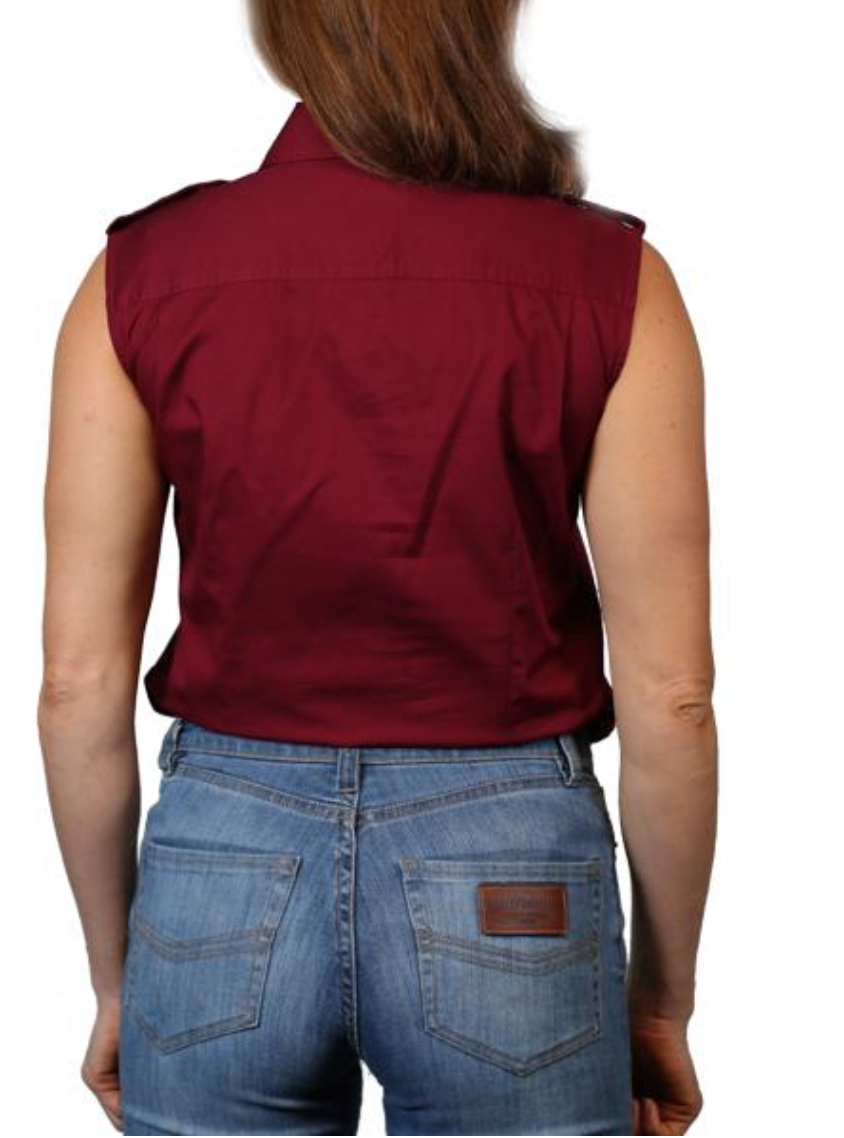 Ringers Western | Womens | Work Shirts | HALF Button | SLEEVELESS | Pentecost | Burgundy - BK8 Outfitters Australia