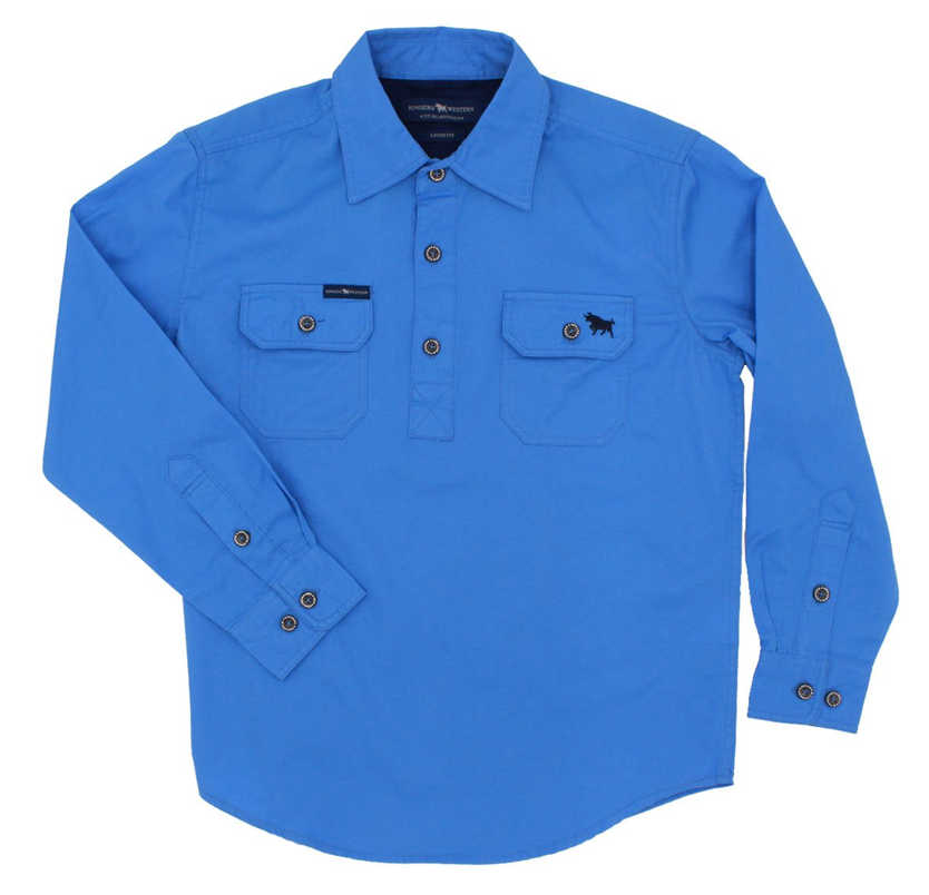 The Ord River Half Button Kids Work Shirt Blue - Rogue Country Outfitters