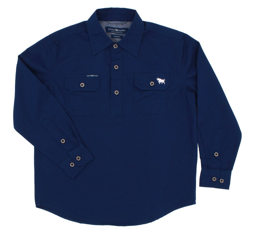 The Ord River Half Button Kids Work Shirt Navy - Rogue Country Outfitters