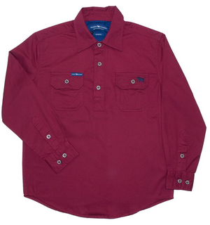 The Ord River Half Button Kids Work Shirt Burgundy - Rogue Country Outfitters