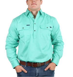 Ringers Western | Mens | Work Shirts | HALF Button | Long Sleeve | King River | Mint - BK8 Outfitters Australia