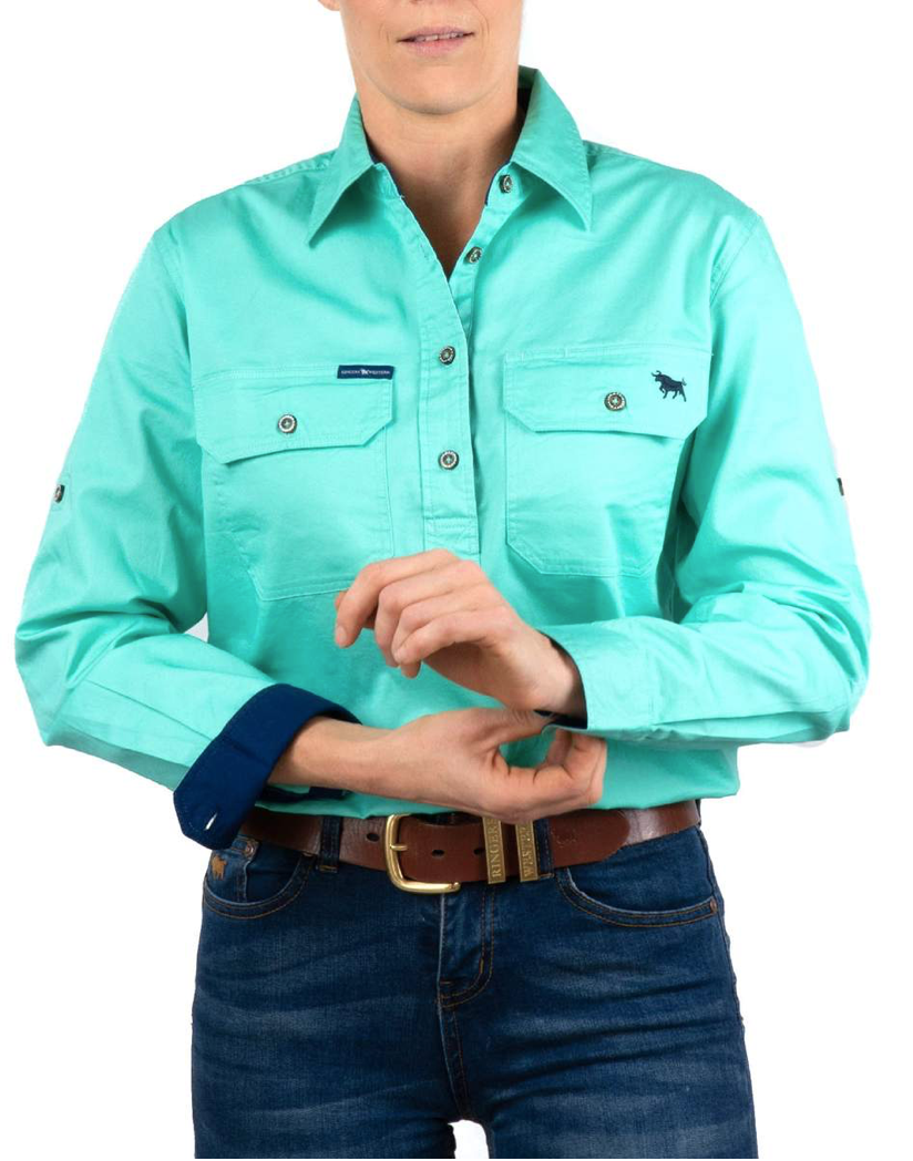 Womens | Work Shirts | HALF Button | Long Sleeve | Pentecost | Mint