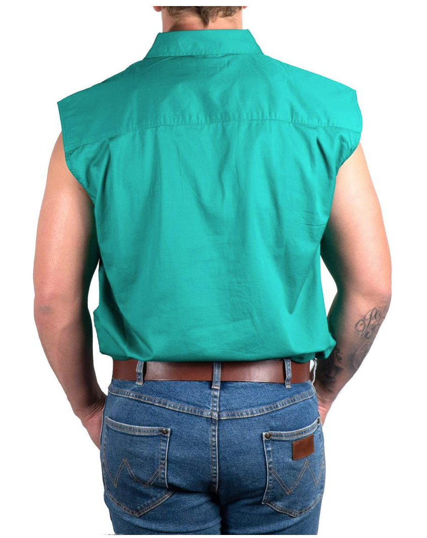 Ringers Western | Mens | Work Shirt | FULL Button | SLEEVELESS |  Rob Roy | Green - BK8 Outfitters Australia