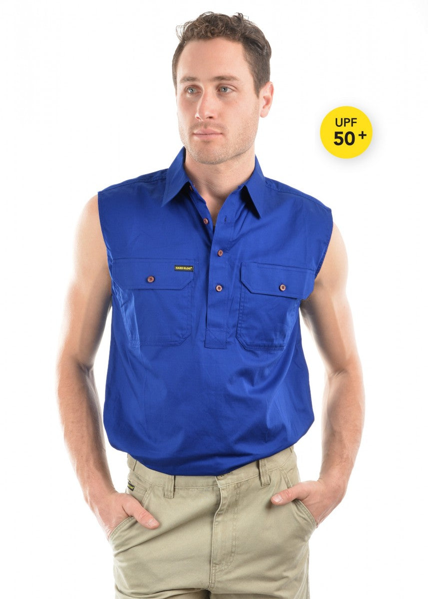 Hard Slog | Mens | Work Shirt | HALF Button | SLEEVELESS | Royal Blue