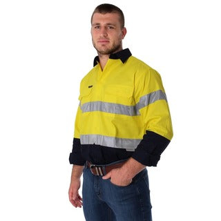 Ringers Western | Mens | Work Shirts | FULL Button | Long Sleeve | Broken Hill | Yellow Navy - BK8 Outfitters Australia