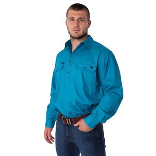 Ringers Western | Mens | Work Shirts | HALF Button | Long Sleeve | King River | Turquoise - BK8 Outfitters Australia
