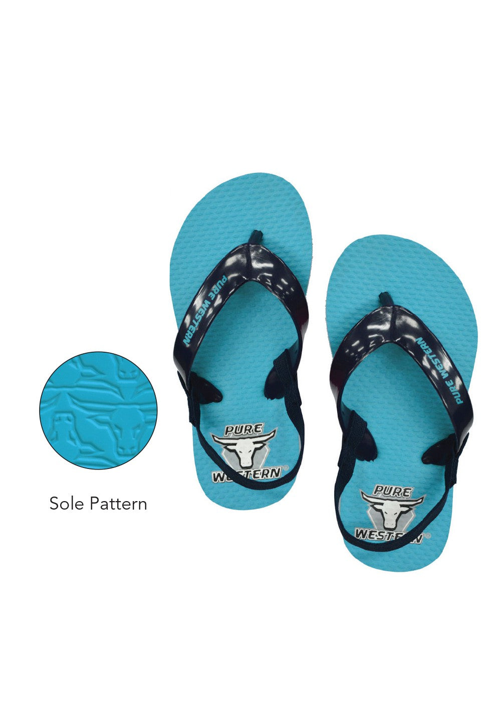 Pure Western | Kids | Thongs | Cody | Blue | Toddler - BK8 Outfitters Australia