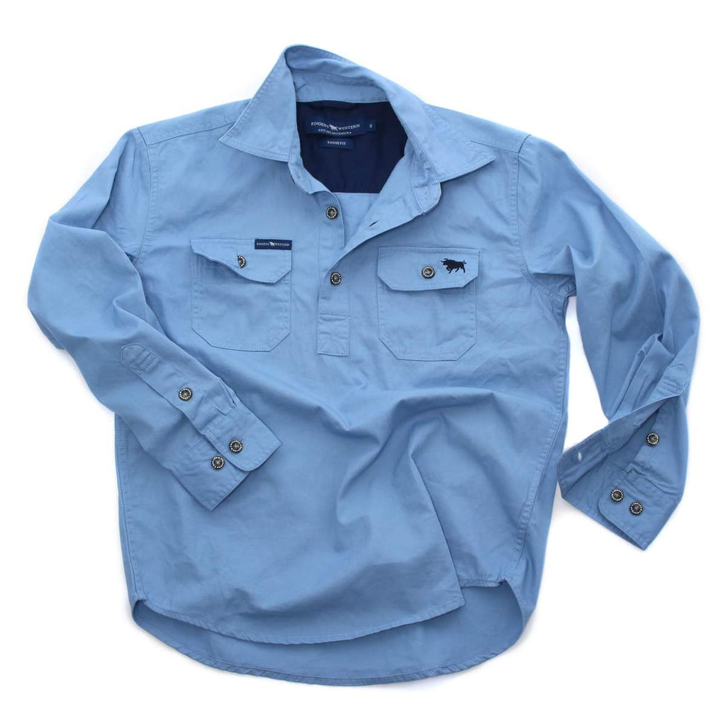 Ringers Western | Kids | Work Shirt | HALF Button | Long Sleeve | Ord | Denim Blue - BK8 Outfitters Australia
