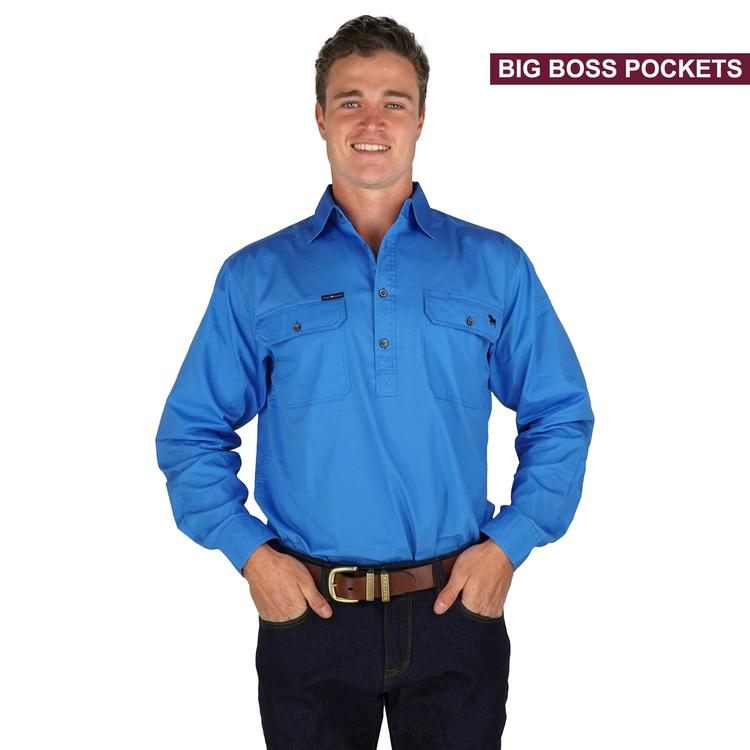 Ringers Western | Mens | Work Shirt | HALF Button | Long Sleeve | Boss Man | Blue