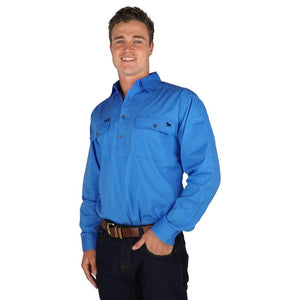 Mens | Work Shirts | HALF Button | Long Sleeve | Boss Man | Blue