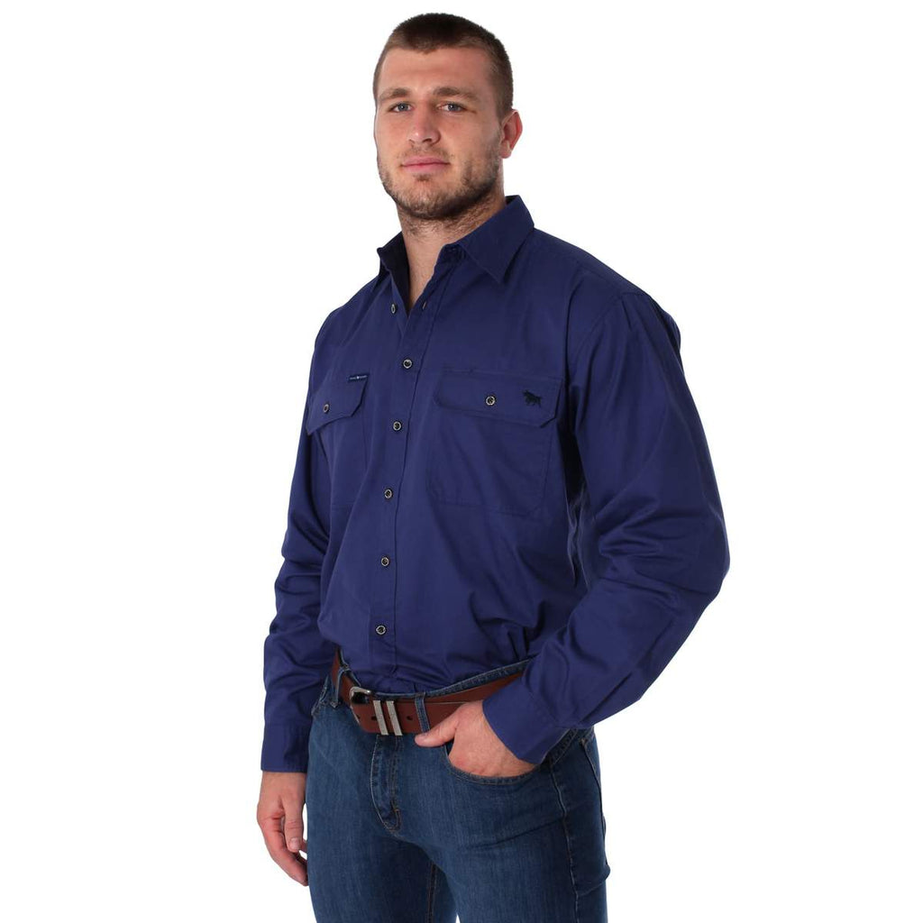 Ringers Western | Mens | Work Shirts | FULL Button | Long Sleeve | King River | Steele Blue - BK8 Outfitters Australia