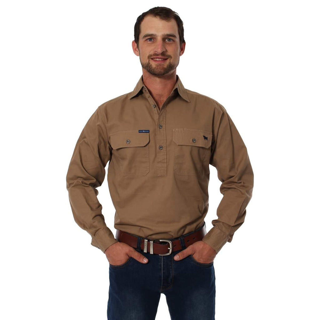Ringers Western | Mens | Work Shirts | HALF Button | Long Sleeve | King River | Clay - BK8 Outfitters Australia