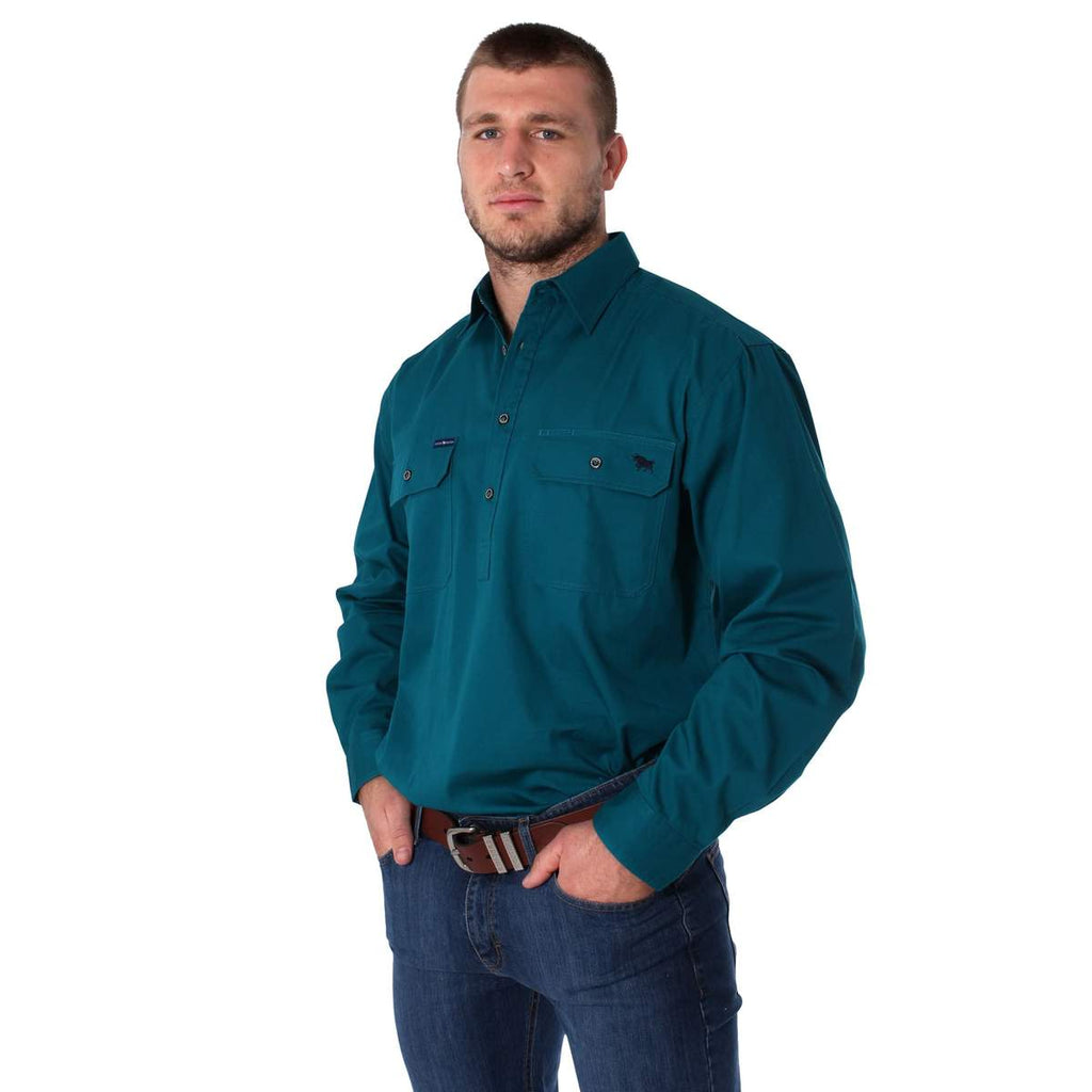 Ringers Western | Mens | Work Shirts | HALF Button | Long Sleeve | King River | Teal - BK8 Outfitters Australia