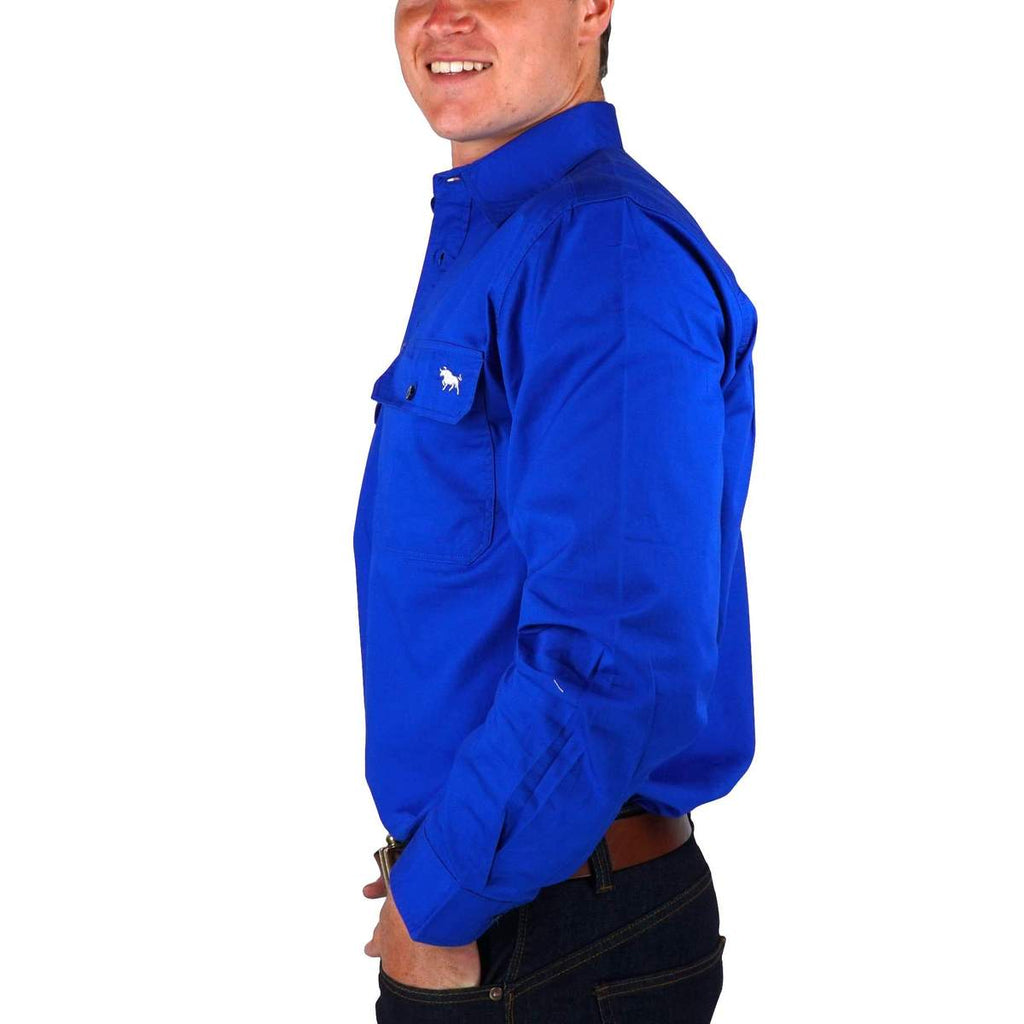Ringers Western | Mens | Work Shirts | HALF Button | Long Sleeve | King River | Royal - BK8 Outfitters Australia