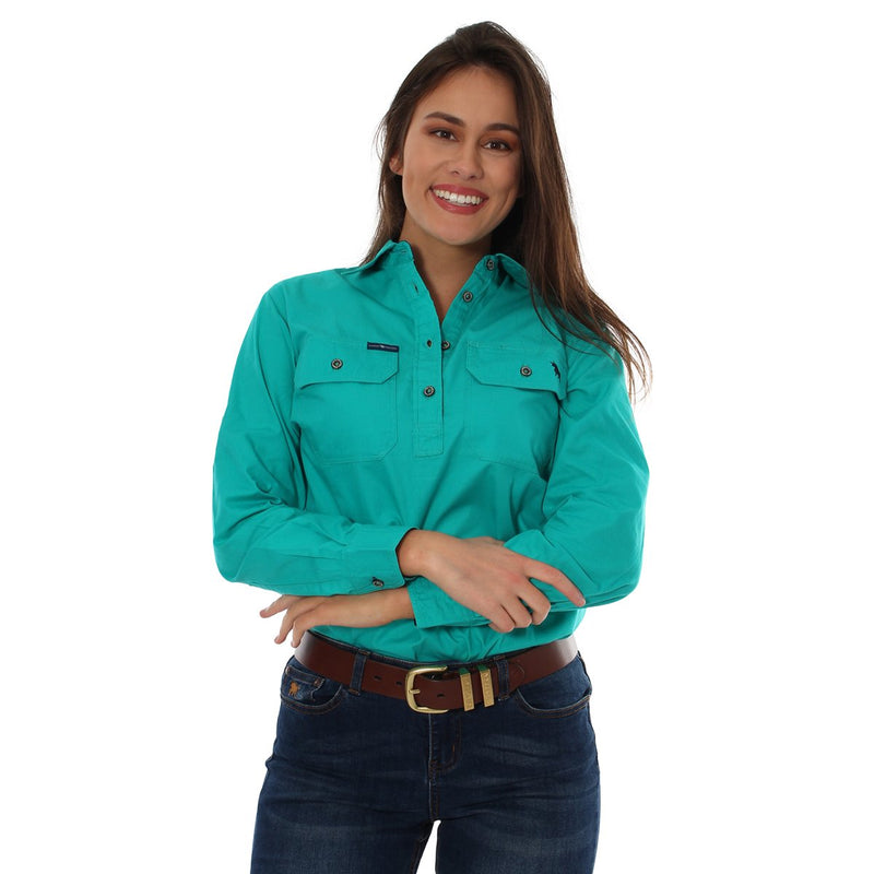 Ringers Western | Womens | Work Shirts | HALF Button | Long Sleeve | Pentecost | Deep Mint - BK8 Outfitters Australia