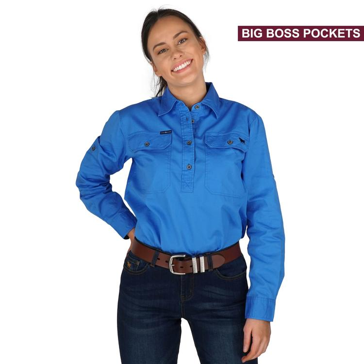 Ringers Western | Womens | Work Shirt | HALF Button | Long Sleeve | Boss Lady | Blue