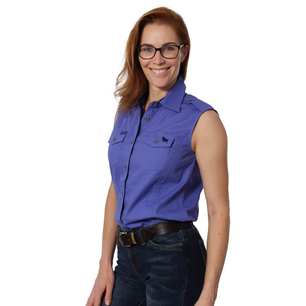 Ringers Western | Womens | Work Shirts | HALF Button | SLEEVELESS | Pentecost | Purple - BK8 Outfitters Australia