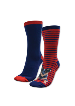 Thomas Cook | Womens Socks | Homestead Twin Pack | Navy & Red