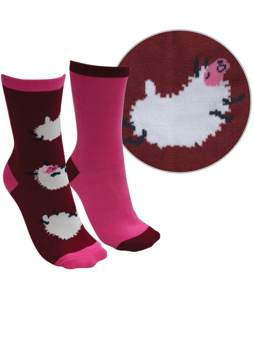 Thomas Cook | Kids | Socks | Farmyard Twin Pack | Beetroot/Rose Pink