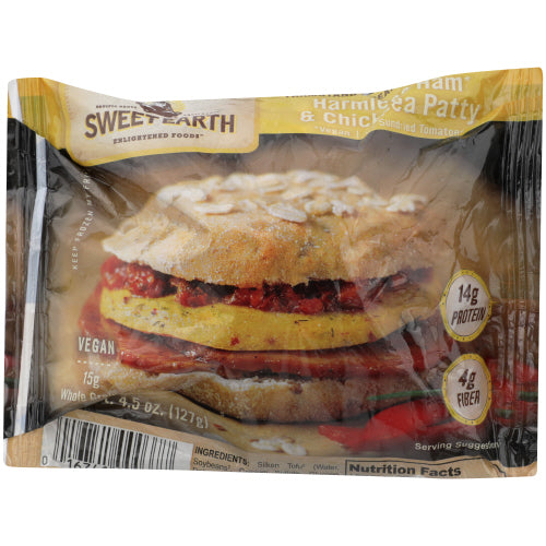 Sweet Earth Vegan Ham Chickpea Patty and Tomato Sandwich