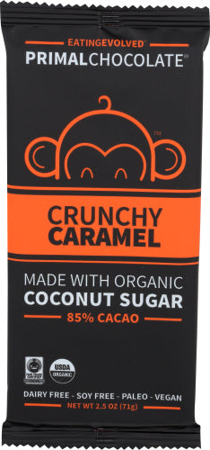 PRIMAL CHOCOLATE CRUNCHY CARAMEL ORGANIC COCONUT SUGAR CHOCOLATE BAR