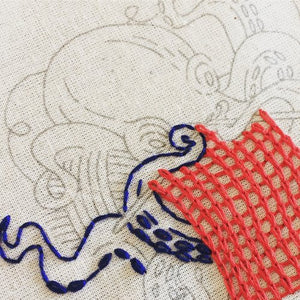 industrious octopus- basic fabric embroidery kit