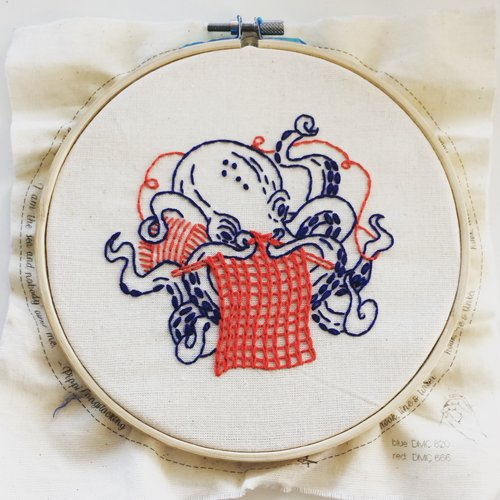 industrious octopus- complete embroidery kit