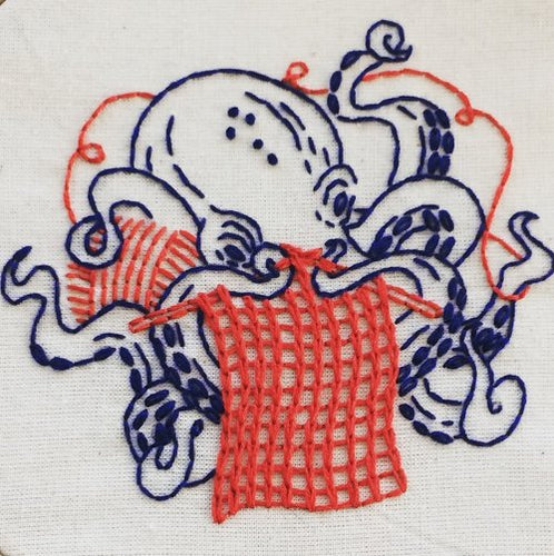 industrious octopus- basic embroidery kit