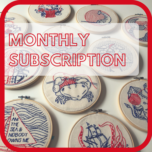 Complete Embroidery Kit Subscription - Nautical Theme, Monthly