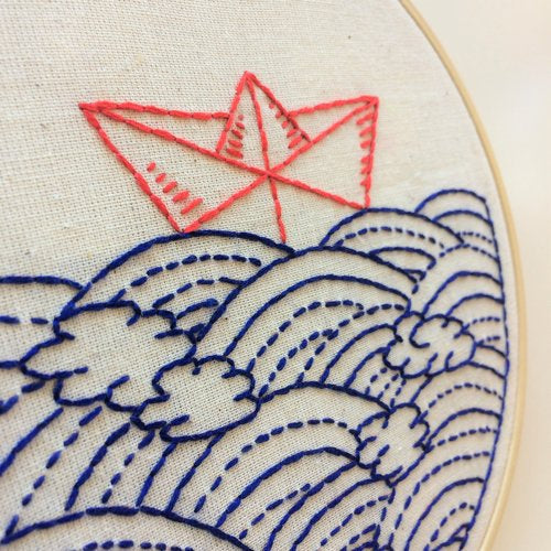 paper boat and sashiko inspired waves
