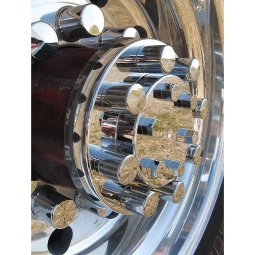 Lifetime Chrome Rear Axle Cover with Top Hat Style Nut Covers