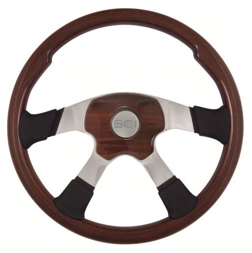 Bells-And-Whistles-Chrome-Shop-Trucks-Aftermarket-Accessories-Steering-Steering-Creations-Milestone-Elite-Mahogany-Steering-Wheel-Peterbilt-Kenworth-Freightliner-Mack-Volvo-Lonestar