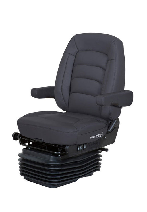 Wide Ride + Serta (Lo-Pro Air Suspension, Bellows, Mid-Back, Dual Armrests, Black Ultra-Leather)