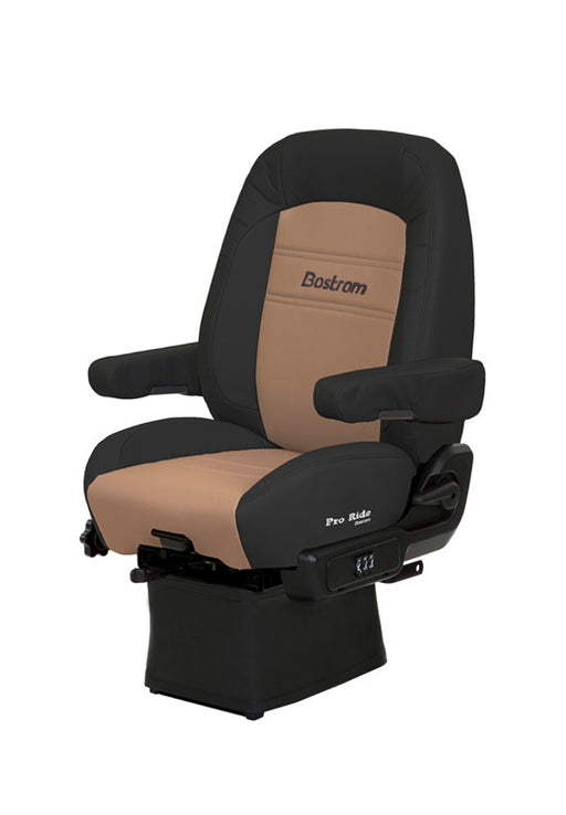 Pro Ride (LO-PRO 910 AIR SUSPENSION, DRAPE, MID-BACK, AIR LUMBAR, DUAL ARMRESTS, BLACK/TAN ULTRA-LEATHER)