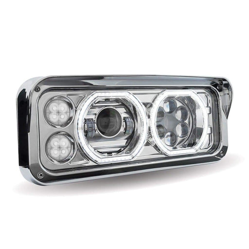 Universal Chrome LED Projector Headlight Assembly with Auxiliary Halo Rings & Housing (Passenger Side)